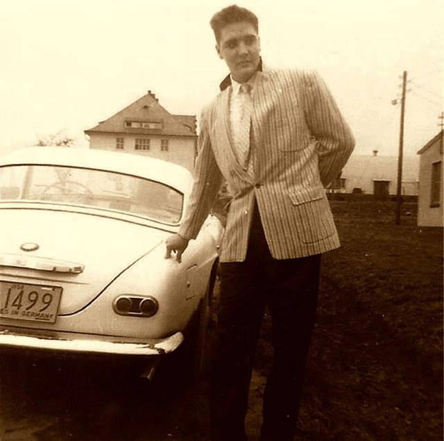 Elvis with his BMW at The Ray Barracks in Friedberg - Germany, 1958