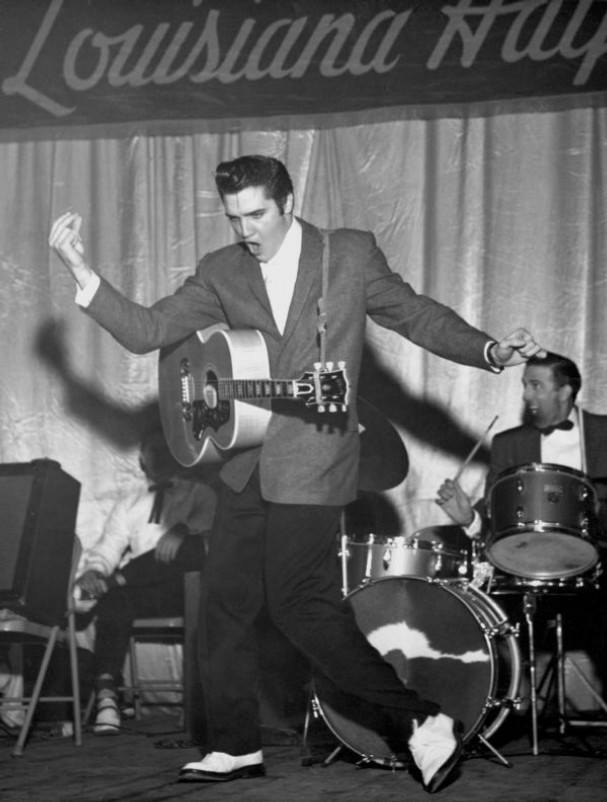 1955, ELVIS PRESLEY makes his TV debut on the weekend show 'Louisiana Hayride' on KSLA-TV