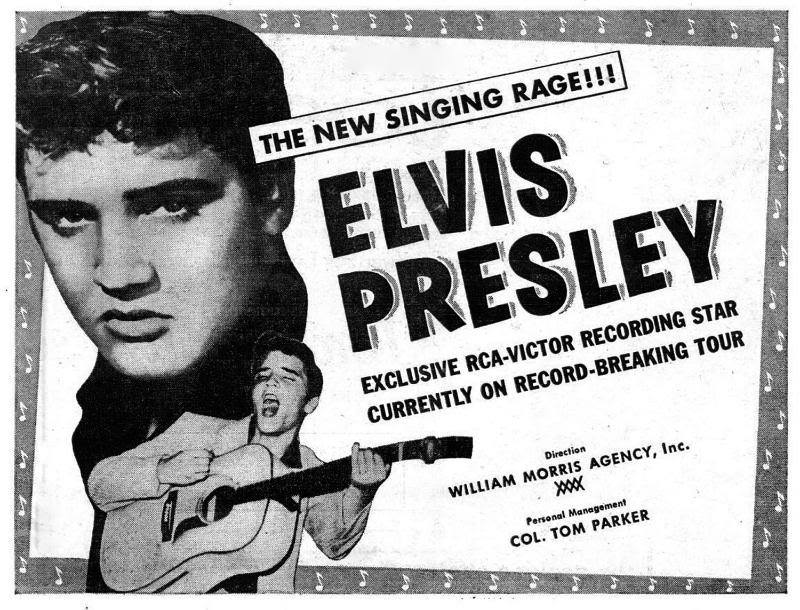 1956, RCA Records places a half page ad in Billboard Magazine claiming ELVIS PRESLEY as 'the new singing rage.'