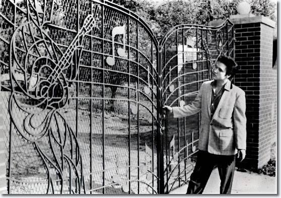 1957, ELVIS PRESLEY had his custom built Music Gates installed at Graceland.