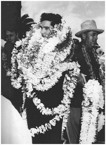 1961, ELVIS PRESLEY performs a benefit concert at Bloch Arena in Pearl Harbor, Hawaii.